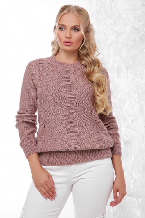 Вязаный женский свитер фрез размер 48-54