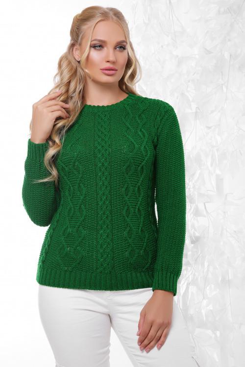 Вязаный женский свитер трава размер 48-54