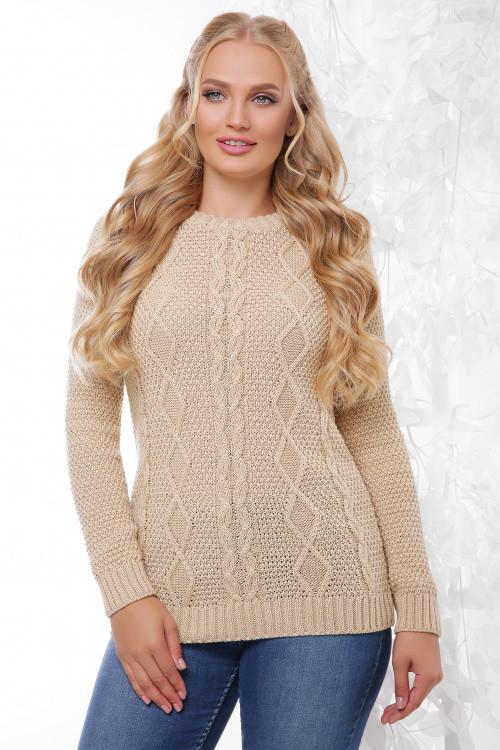 Вязаный женский свитер топленое молоко 48-54