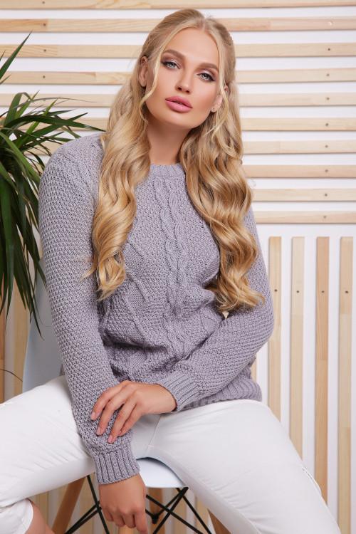 Вязаный женский свитер серый размер 48-54