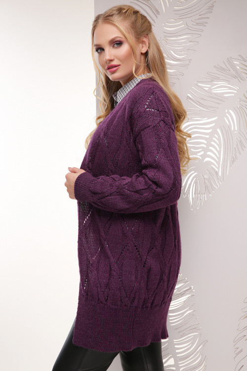 Женский вязаный кардиган фиолетовый размер 50-56