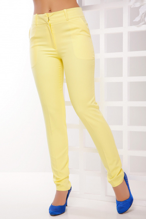 Женские брюки из костюмной ткани лимонного цвета 44, 46, 48