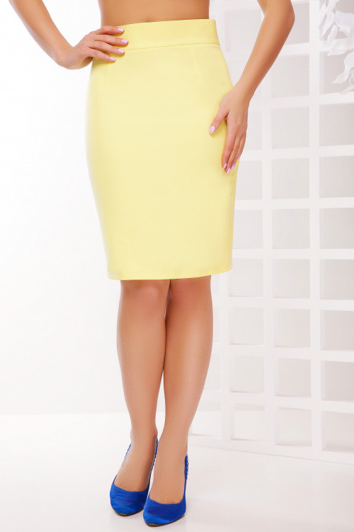 Юбка карандаш лимонного цвета 50