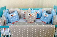 """Комплект постельного белья """"Совы серо-голубая звезда"""" с подушками для мальчика ТМ «Добрый сон»"""