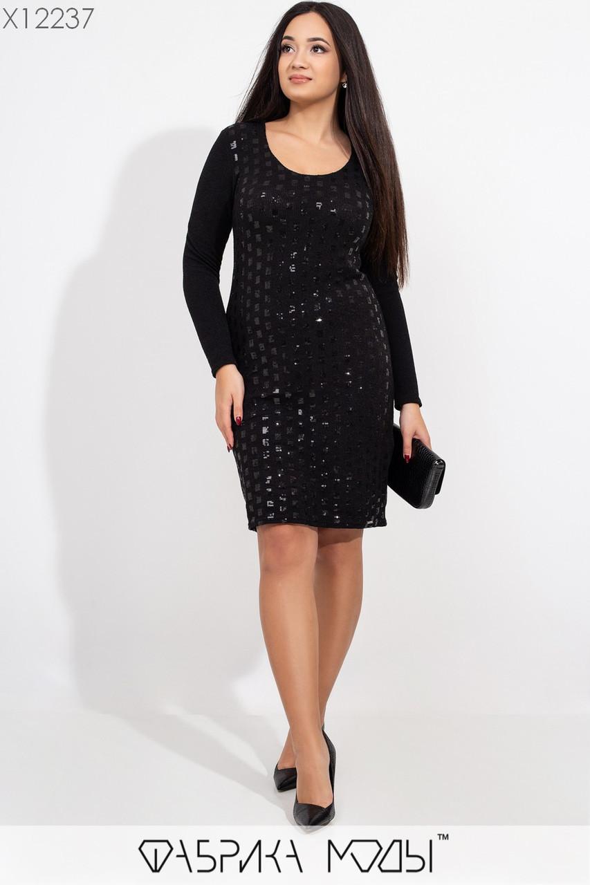 Платье по фигуре с вырезом декольте и вставками пайетки tez115426