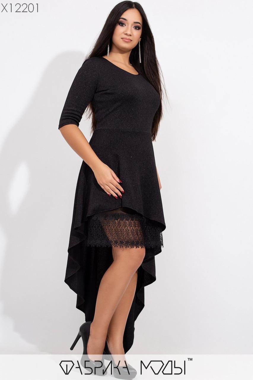 Асимметричное платье размеров 48+ с рукавом 3/4 tez115440