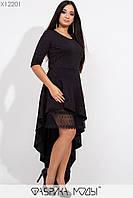 Асимметричное платье размеров 48+ с рукавом 3/4 tez115440, фото 1
