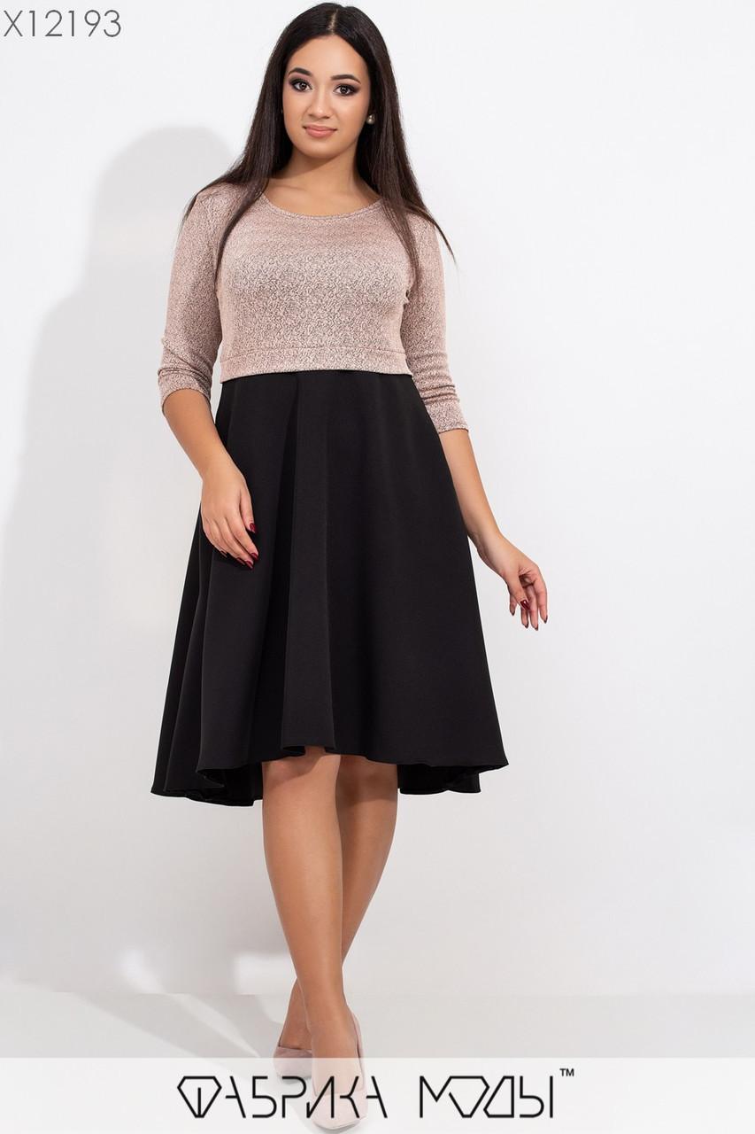 Расклешенное платье батал с завышенной талией в расцветках tez115442