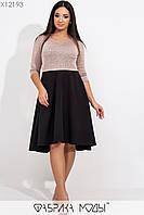 Расклешенное платье батал с завышенной талией в расцветках tez115442, фото 1