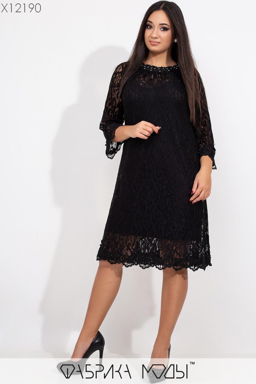 Батальное гипюровое платье трапеция с рукавом 3/4 tez115443