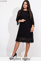 Батальное гипюровое платье трапеция с рукавом 3/4 tez115443, фото 1