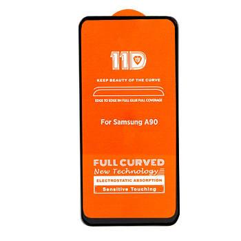 11D (5D+) стекло для Samsung A90 Black Черное - Полный клей