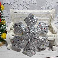 """Объемная аппликация-патч с глиттером, """"Снежинка"""", 7,7 см, 1 шт., цвет серебро"""