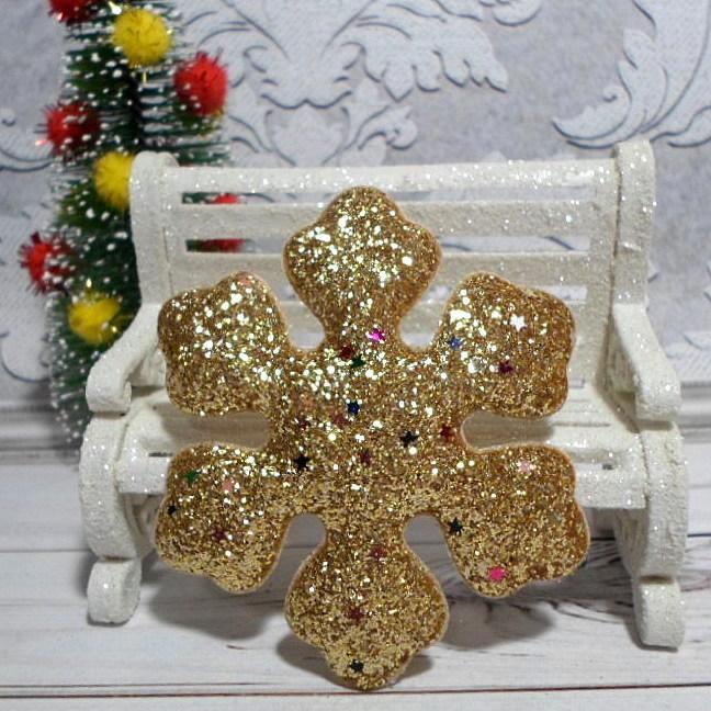 """Объемная аппликация-патч с глиттером, """"Снежинка"""", 7,7 см, 1 шт., цвет золото"""