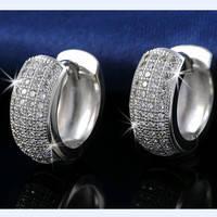 Круглые серебряные серьги, с цирконием