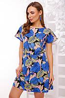 Платье 1738 синяя монстера