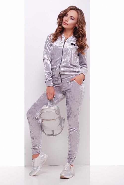 Велюровый прогулочный костюм светло-серый 44, 46, 50