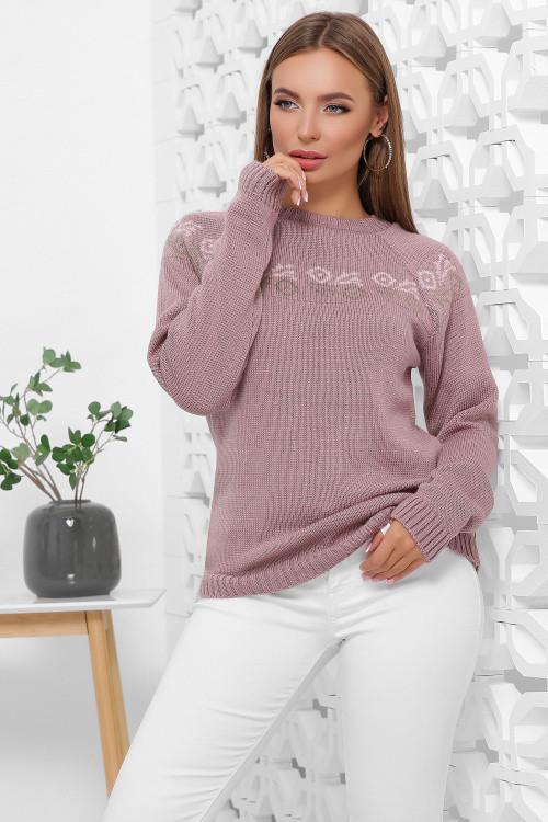 Вязаный женский свитер с орнаментом фрез 44-48