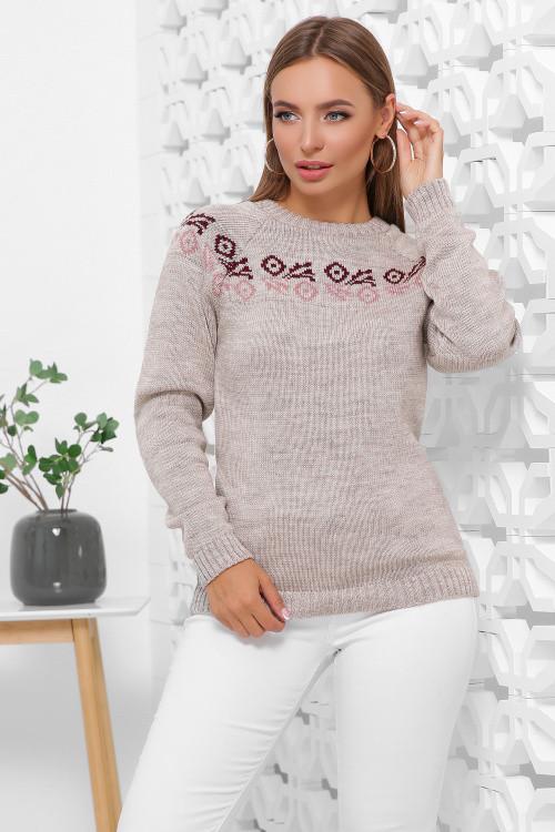 Вязаный женский свитер с орнаментом капучино 44-48