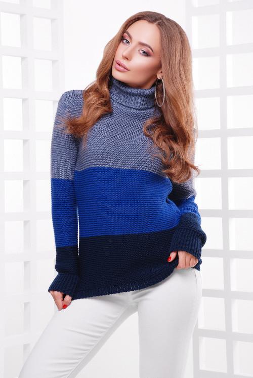 Женский свитер трехцветный св.джинс-электрик-т.синий 44-52