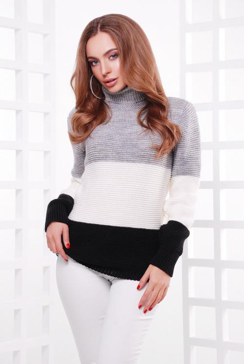 Женский свитер трехцветный т.серый-молоко-черный 44-52