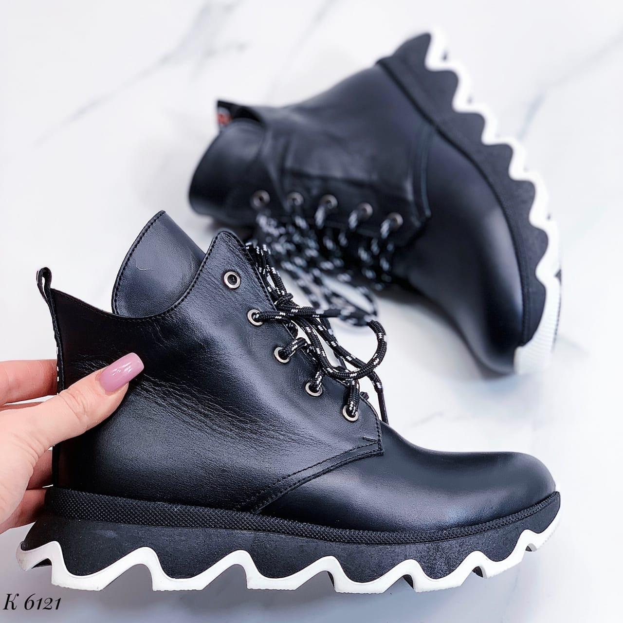 Женские зимние черные ботинки, из натуральной кожи 36 ПОСЛЕДНИЕ РАЗМЕРЫ
