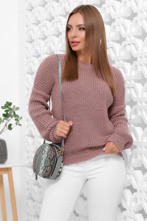 Женский однотонный свитер фрез 42-46