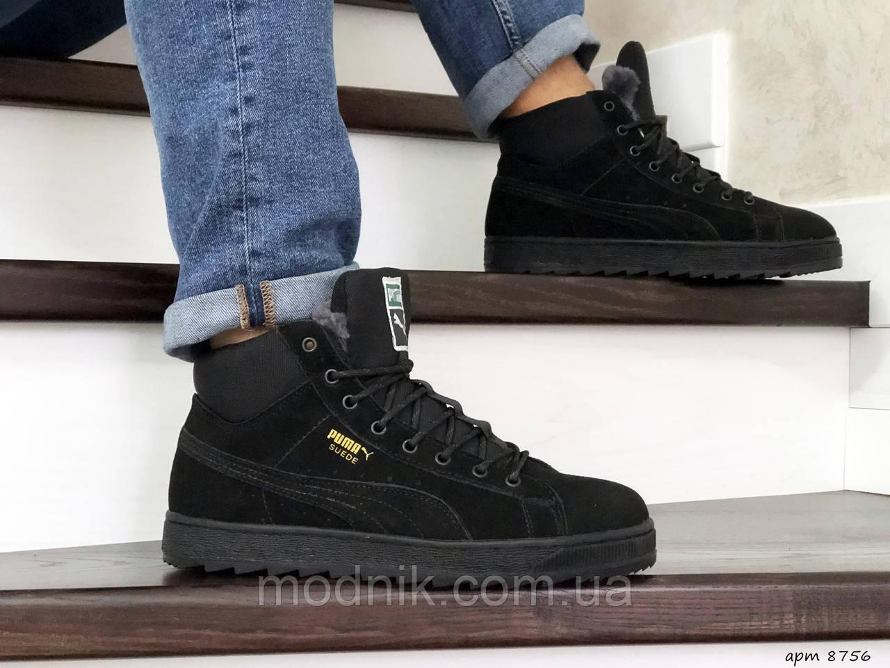 Мужские зимние кроссовки Puma Suede (черные)