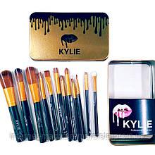 Набор кистей Kylie 12 шт для макияжа Кайли кисточки в золотом контейнере