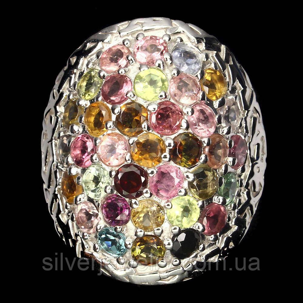 Серебряное кольцо с ТУРМАЛИНОМ (натуральный), серебро 925 пр. Размер 17,5