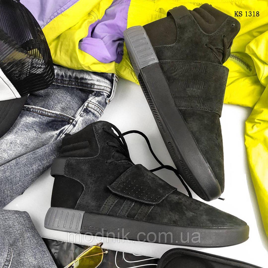 Зимние кроссовки Adidas Tubular Invader Strap (черные)