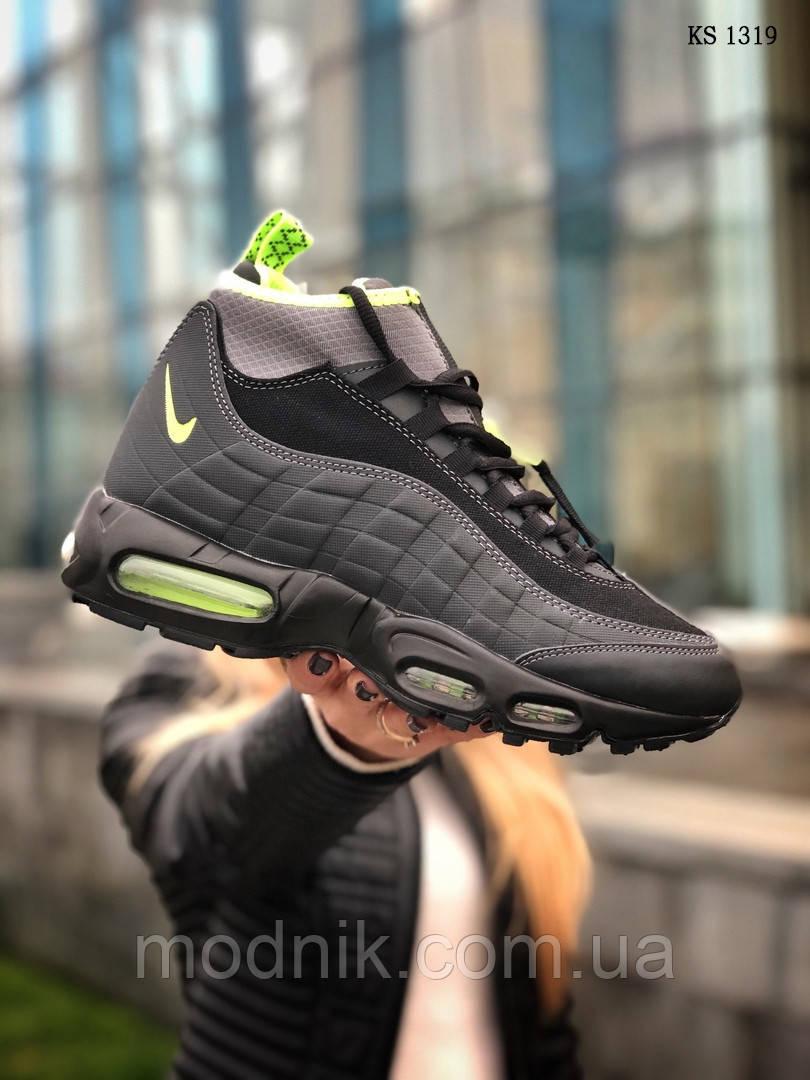 Мужские зимние кроссовки Nike Air Max 95 Sneakerboot (черно/зеленые) ТЕРМО