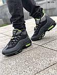 Мужские зимние кроссовки Nike Air Max 95 Sneakerboot (черно/зеленые) ТЕРМО, фото 6