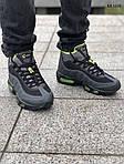 Мужские зимние кроссовки Nike Air Max 95 Sneakerboot (черно/зеленые) ТЕРМО, фото 7