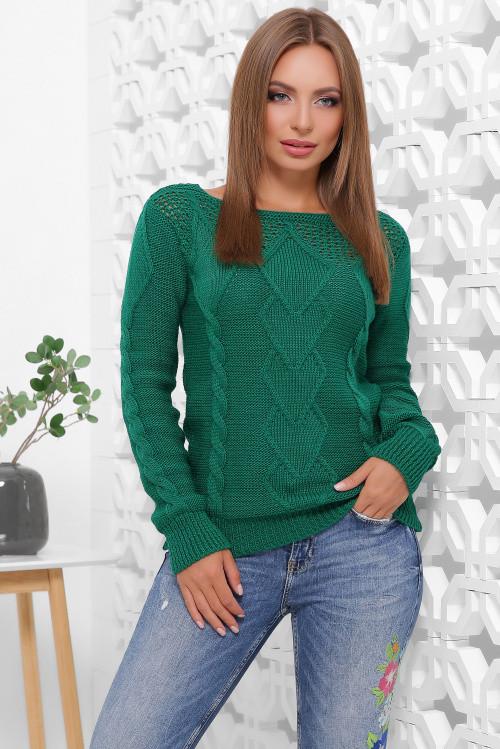 Однотонный женский свитер изумрудный 44-50