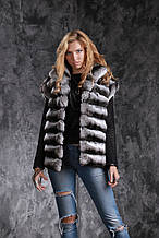 Жилет з шиншили Natural chinchilla fur vest gilet