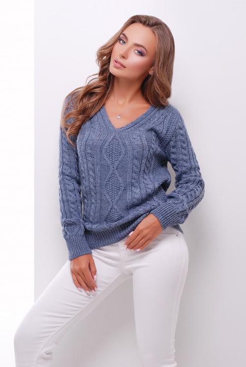 Вязаный женский джемпер светлый джинс 42-48