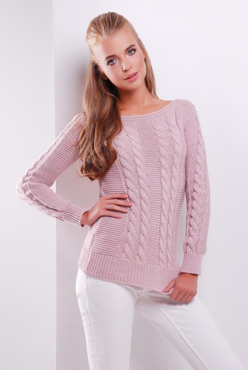 Вязаный стильный женский свитер пудра 42-48