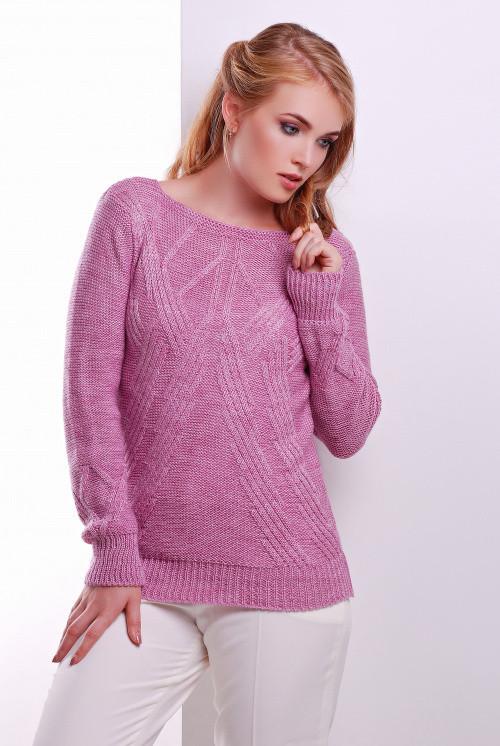 Вязаный женский свитер сирень 44-50