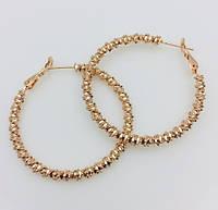 Женские серьги, сережки  кольца Fallon высота 40 мм , позолота 18К