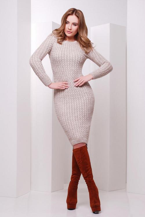 Вязаное платье капучино 42-46