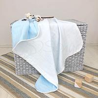 Детскийплед «Муслин» на выписку, в коляску, в кроватку для новорожденныхмальчиков (бело-голубой)