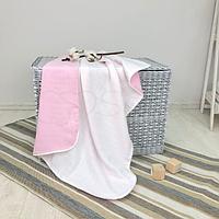 Детскийплед «Муслин» на выписку, в коляску, в кроватку для новорожденныхдевочек (бело-розовый)