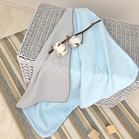 Детскийплед «Муслин» на выписку, в коляску, в кроватку для новорожденныхмальчиков (серо-голубой)
