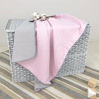 Детскийплед «Муслин» на выписку, в коляску, в кроватку для новорожденныхдевочек (серо-голубой)