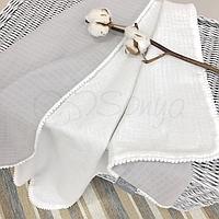 Детскийплед «Муслин» на выписку, в коляску, в кроватку для новорожденных (бело-серый)