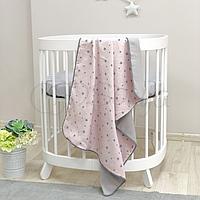 Детскийплед «Муслин» на выписку, в коляску, в кроватку для новорожденныхдевочек (серо-розовый звезды)