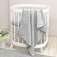 Детскийплед «Муслин» на выписку, в коляску, в кроватку для новорожденныхмалышей (серый звезды)
