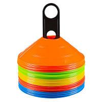 Фишки (конусы) разметочные,пластик, набор 50шт в чехле, красный, оранжевый, желтый, синий, салатовый.