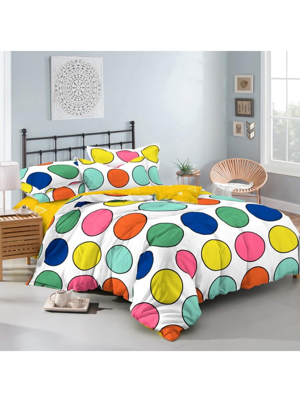 Комплект постельного белья сатин Разноцветные Круги Украина